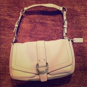 Coach white leather hand bag